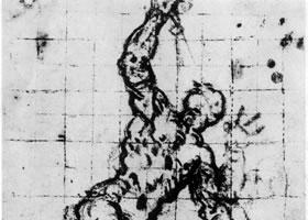 丁托雷托《旗手的习作》素描作品