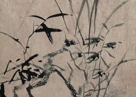 杨文骢《兰石图》轴