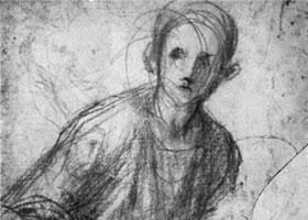 蓬托莫《少年坐像》素描作品