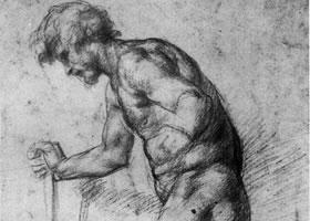 蓬托莫《下台阶的男人》素描作品