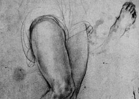 蓬托莫《为大天使米卡埃尔的脚作的习作》素描作品