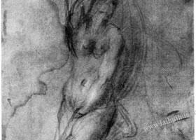 蓬托莫《裸体习作》素描作品