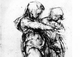 蓬托莫《走步的两女性》素描作品