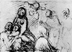 蓬托莫《维斯多米尼教堂祭坛画构图习作》素描