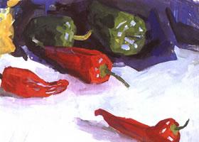 辣椒的水粉画法