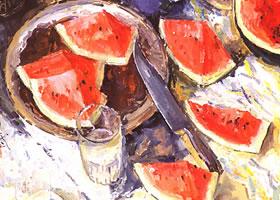 西瓜的水粉画法