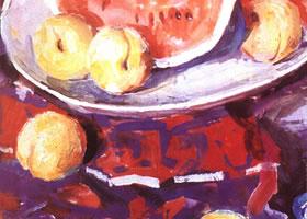 桃子的水粉画法