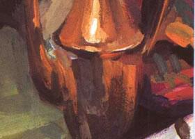 铜壶的水粉画法