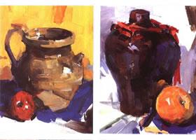 陶罐的水粉画法作品
