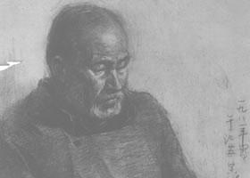 《刻陶的老人》素描作品