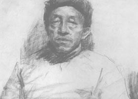 戎国辉《老人肖像》素描作品