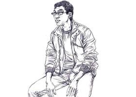 男性坐姿速写步骤