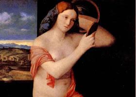 乔凡尼•贝利尼《裸女照镜》作品