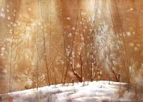 水彩画湿画深色线条技法