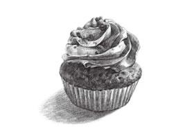 纸杯蛋糕素描画法