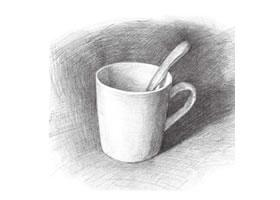 水杯素描画法