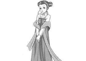 古代宫廷侍女卡通漫画素描