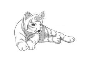 趴着的老虎卡通素描画法