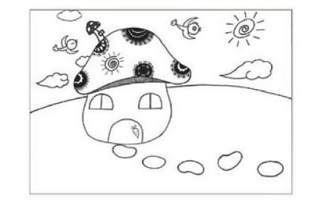 蘑菇房子儿童画线描绘画步骤02