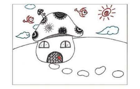 蘑菇房子儿童画线描绘画步骤04