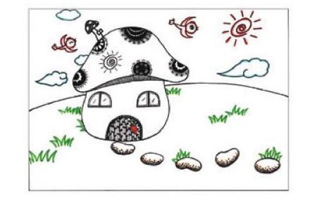 蘑菇房子儿童画线描绘画步骤06