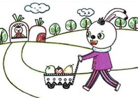 小兔子回家儿童画线描