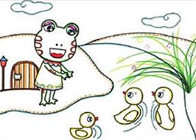小青蛙儿童画线描