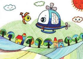 小鸟和和飞机儿童画线描