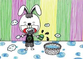 小兔子刷牙儿童画线描
