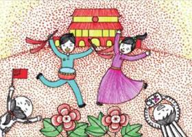 国庆节儿童画线描