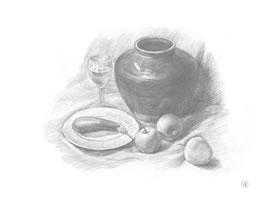 罐子、高脚杯、盘子和苹果组合素描画法