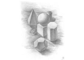 罐子、果子和几何体组合素描画法