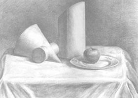 苹果、盘子和几何体组合素描画法