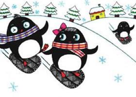 滑雪儿童画线描(企鹅线描)