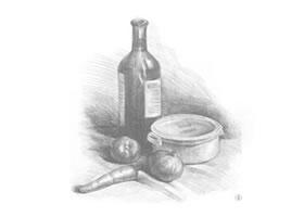 胡萝卜、洋葱和酒瓶组合素描画法