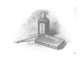墨汁盒和毛笔组合素描