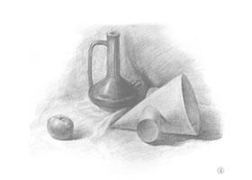 十字圆锥体和罐子组合素描