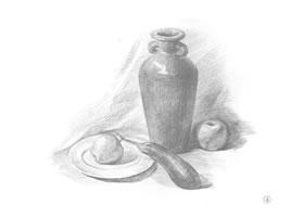 花瓶、盘子和苹果组合素描