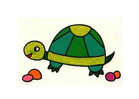 乌龟油画棒作画步骤