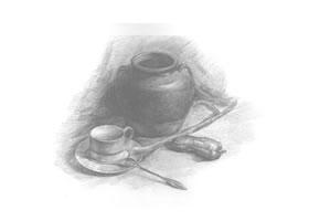 有咖啡杯的静物组合素描