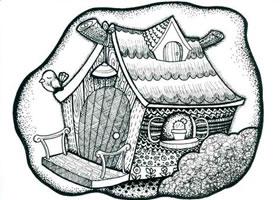 漂亮的小木屋儿童线描画法步骤