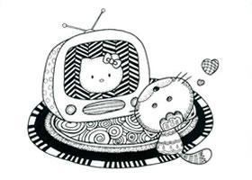电视机儿童线描画法步骤