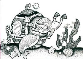 海底的世界儿童线描画法步骤