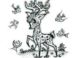 梅花鹿儿童线描画法步骤