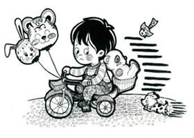 儿童车儿童线描画法步骤