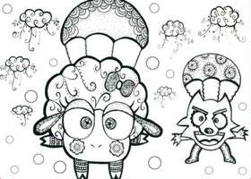 大灰狼和小绵羊儿童线描画法步骤