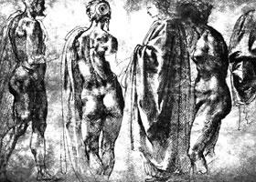 米开朗基罗《古代雕塑写生及其他习作》高清大图欣赏