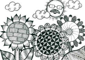 向日葵儿童线描画法