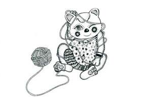 小花猫玩线团儿童线描画法