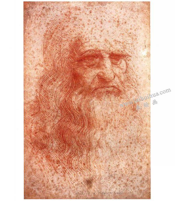 达芬奇《有胡须的男子头像》素描